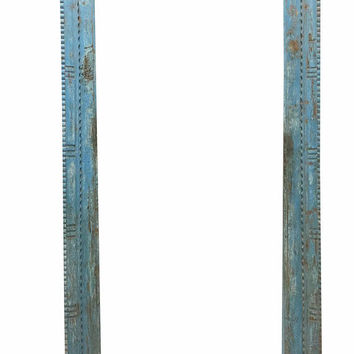 Antique Blue Haveli Door Frame Only , Zig Zag Decorative Cuts Design Entrance Arch Shabby CHIC Decor FREE SHIP