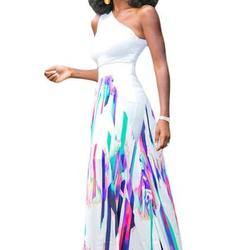 Multicolor Striped Graffiti Flowy Maxi Skirt