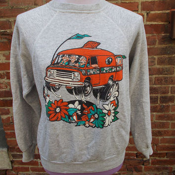 vintage 1970s raglan sweatshirt wacky Hippie Van Flowers and... Feet, so RAD, heathered grey,  mens or womens (Medium)