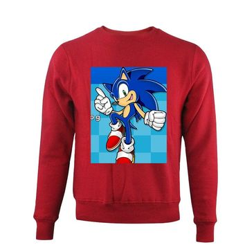 Sonic the Hedgehog Printing Long Sleeve Sweatshirt for Women Round Neck Pullover Hoody Cool Style Fall Ladies Sweat Shirts