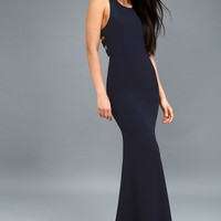 Power of Wow Navy Blue Backless Maxi Dress