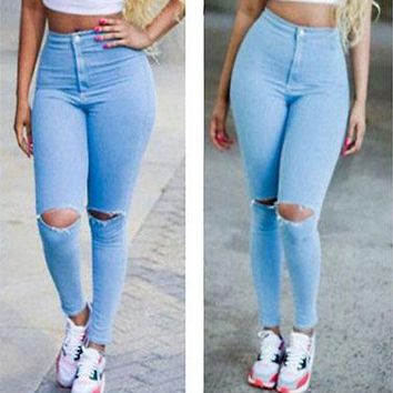 Hot Sexy Women Denim Jeans Girls Distressed Jeggings Ladies Stretch Pencil Pants