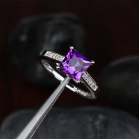 Engagement Wedding Ring Princess Cut VVS Amethyst and Diamonds 14k White Gold ,Gift Anniversary Ring