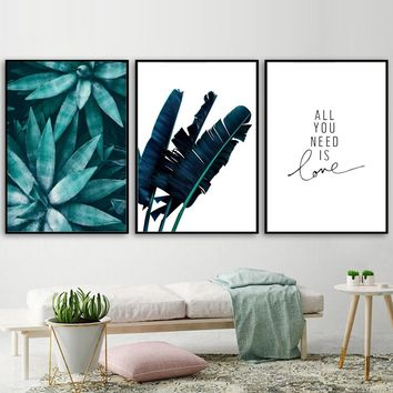 Tropical Green Plant Banana Leaf Quote Wall Art Canvas Painting Nordic Posters And Prints Wall Pictures For Living Room Decor