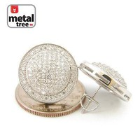 Jewelry Kay style Men's Hip Hop Bling 14k G.P XL 20 mm Puffed Dome Round Screw Back Stud Earrings