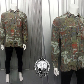 Vintage 90s Grunge Mens Shirt Abstract Pattern Oversized Shirt Button up Topman Crazy Pattern Fresh Prince Hip Hop Hipster Clothing Indie