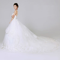Handmade Cute White Lace Halter Couture Church Garden Wedding Dresses SKU-119005