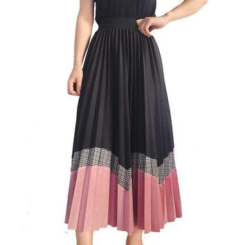 Korean Style Wave Patchwork A-line Long Pleated Skirts Contrast Color Plaid Wool Blend Mid Calf Long Skirt