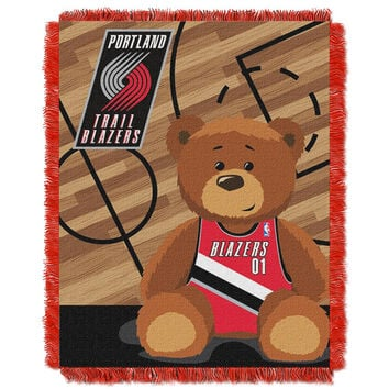Portland Trail Blazers NBA Triple Woven Jacquard Throw (Half Court Baby Series) (36x48)