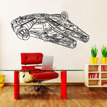 Wall Decals Vinyl Sticker Decal Art Home Decor Mural Star Wars Millennium Falcon Fighter Children Nursery Room Bedroom Office Window AN236