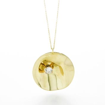 """IPPOLITA Classico Wavy Disc Necklace with Diamond in 18k Yellow Gold 18"""""""