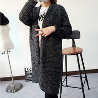 1pc Fashion Autumn Winter Style Long Sleeve Loose Thick Knitted Cardigan Women Sweater Long Cardigan female Sweaters Long Coat