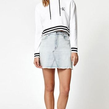 LMFONDI5 Calvin Klein Striped Ribbed Cropped Pullover Hoodie