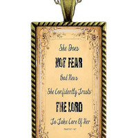 Christian Bible Scripture Necklace Psalm 112:7  Glass Tile Pendant