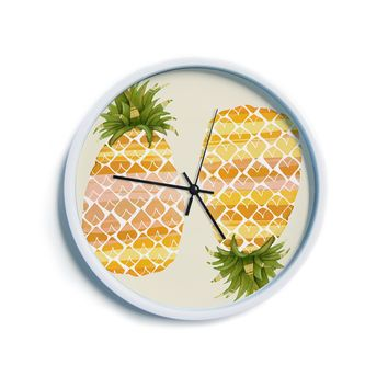 "Judith Loske ""Happy Pineapples""  Modern Wall Clock"