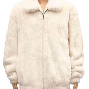 Kashani White Full Mink Bomber Fur Coat