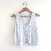 vintage blue and white tank top. button up tank. natural breezy shirt / cropped Victoria's Secret shirt
