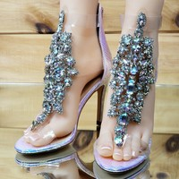 "Bella Luna Rylee Rhinestone Jeweled 4"" High Heel Sandal Shoe Pink Hologram"