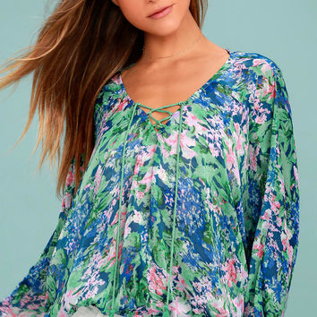 Sweetest Charm Blue Floral Print Long Sleeve Top