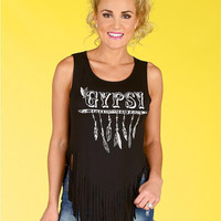 "Black ""Gypsy"" Letter and Feather Print Sleeveless T-Shirt with Fringe"