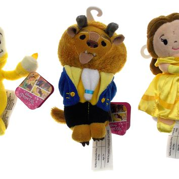 Disney Beauty & The Beast Set of 3 Plush Figurine Dolls Belle Beast Lumiere Toys