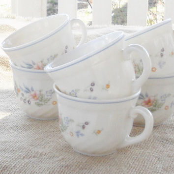 Vintage French Arcopal Coffee Cups, Set of 6, Mugs, Teacups, Tea Party, Cottage Style, Serving, Wedding, Housewarming Gift Inspired