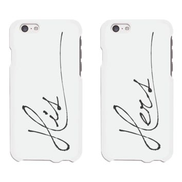 His and Hers Cursive White Matching Couple Phone Cases Wedding Gift