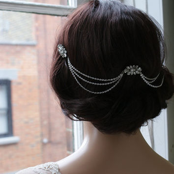 Hair Chain Headpiece - Art Deco Headpiece -Bridal hair jewellery  - 1920s Bridal headpiece -Downton Abbey headpiece -1920s wedding dress