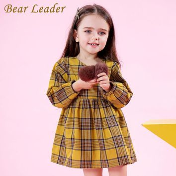 Girls Dress Spring Girls Clothes Preppy Style Red and Yellow Plaid Bow Baby Girls Dress