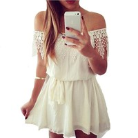 Encounter Women's White Off Shoulder Lace Mini Dress
