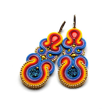 Big rainbow earrings art deco jewelry beaded earrings soutache dangle earrings Boucles d'oreilles blue red yellow orange druzy earrings