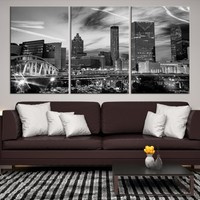 34800 - Atlanta Night City Cityscape Wall Art Canvas Print, Atlanta, Atlanta Canvas, Atlanta Print,