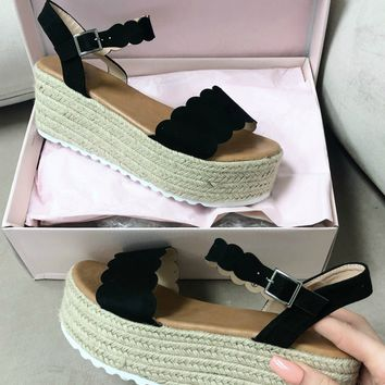 Long Break Black Scallop Platform Espadrilles