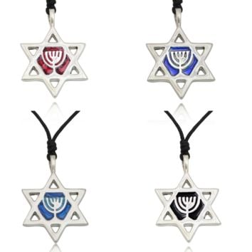 Unique Jewish Star of David Silver Pewter Charm Necklace Pendant Jewelry