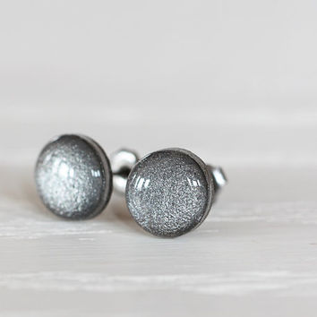 Pewter Shimmer Post Earrings