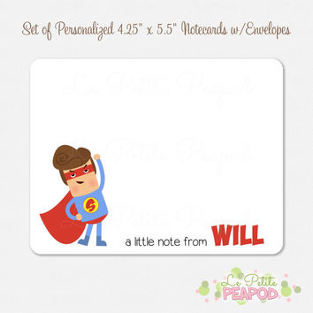 "10 Personalized 4.2"" x 5.5"" Note Cards - Thank You Cards - Comic Superhero Design - kids notecards"