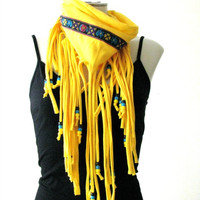 Hippie Boho Fringe Scarf with beads and flower trim, Yellow fringe festival scarf