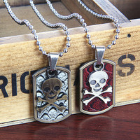 metal chain men necklace, skull pendant couple necklace, women metalwork necklace  FP005