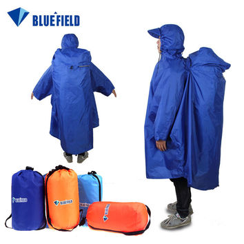 BlueField One-piece Raincoat Backpack Cover Poncho Rain Cape Outdoor Hiking Camping Unisex Sky Blue