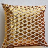 Amore Beaute Handcrafted Decorative Throw Pillow Covers with Intricate Gold Sequin Embroidered Waves - Sashiko Pillow Covers - Gold Cushion Cover with Zipper - Sofa Pillow Cover - Gold Pillow Cover (16 x 16)
