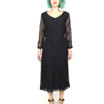 1950s Black Lace Wiggle Dress Sheer Long Sleeve Dress Fitted Scalloped Neckline Little Black Dress Retro Cocktail Party Dress Pockets  (S/M)