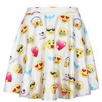 Emoji Print High-Waisted Casual Skater Skirt