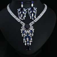 Wedding cubic zirconia Clear zirconia and cirrus Necklace And Earrings,jewelry set,cz jewelry set,bridal jewelry