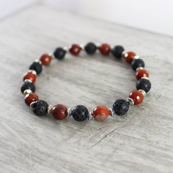 Red and Black Bracelet, Men's Bracelet, Gemstone Stretch Bracelet, Dark Red Bracelet, Lava Beaded Bracelet, Unisex Bracelet Jewelry