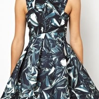 AQ AQ Major Structured Skater Dress In Digital Print
