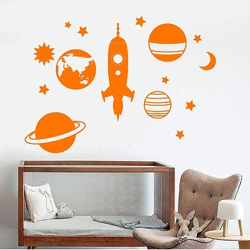 Vinyl Wall Decal Space Rocket Planet Stars Children's Room Decor Stickers Unique Gift (1255ig)