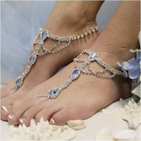 SOMETHING BLUE  barefoot sandals - silver