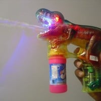 DH Educational Products - Dinosaur Bubble Gun with Flashing Lights and Dinosaur Sound - Shoots endless streams of bubbles