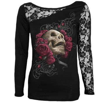 Skull Print Long Sleeve Tee Shirt Lace Patchwork