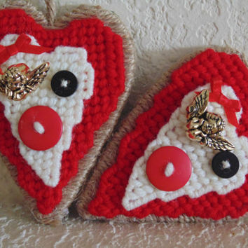 Valentine Heart Needlepoint Ornament Primitive Heart Charm with Buttons